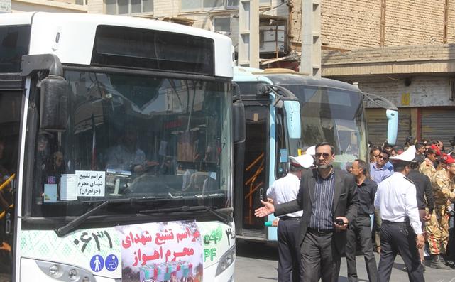 تشییع با شکوه شهدای حادثه تروریستی اهواز با ۱۰۰ دستگاه اتوبوس