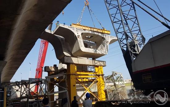 نصب سگمنت های محور L500 تقاطع غیرهمسطح شهید کجباف اهواز