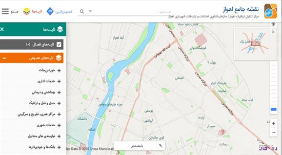 نقشه جامع شهر روی خروجی سایت شهرداری اهواز
