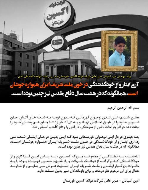 مدیر عامل شرکت فولاد اکسین خوزستان جان باختن نوجوان فداکار ایذه ای را تسلیت گفت